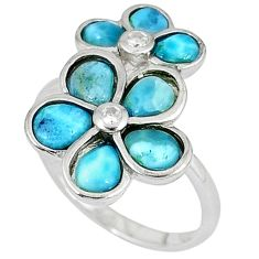 Natural blue larimar topaz 925 sterling silver flower ring size 7 a33052