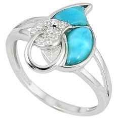 Natural blue larimar topaz 925 sterling silver ring jewelry size 8 a33059