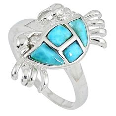 Natural blue larimar fancy 925 sterling silver crab ring jewelry size 7 a33208
