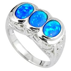 Blue australian opal 925 sterling silver engagement ring jewelry size 8 a33757