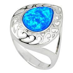 Blue australian opal (lab) 925 sterling silver ring jewelry size 8 a33783