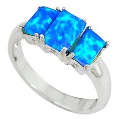 Blue australian opal (lab) octagan shape 925 sterling silver ring size 7 a33794