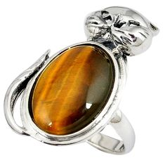 925 sterling silver natural brown tiger's eye oval ring jewelry size 8 a34054