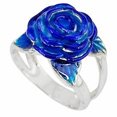 925 sterling silver multi color enamel flower ring jewelry size 5.5 a34503