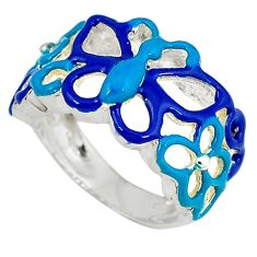 Multi color enamel 925 sterling silver butterfly ring jewelry size 5.5 a34506