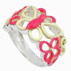 Multi color enamel 925 sterling silver butterfly ring jewelry size 5.5 a34509
