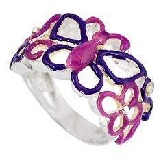 Multi color enamel 925 sterling silver butterfly ring jewelry size 5.5 a34510