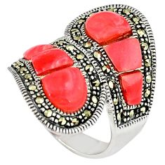 Natural pink opal marcasite 925 silver butterfly ring jewelry size 5.5 a34717