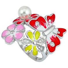 925 silver natural white pearl topaz enamel flower ring jewelry size 7.5 a34944