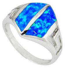 Blue australian opal (lab) enamel 925 silver ring jewelry size 6 a36568