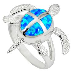 925 silver blue australian opal (lab) tortoise ring jewelry size 7.5 a36634