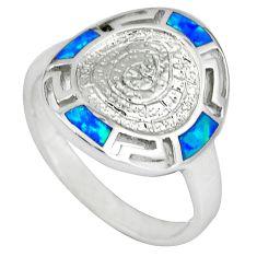 Blue australian opal (lab) 925 sterling silver jewelry ring size 7.5 a36643