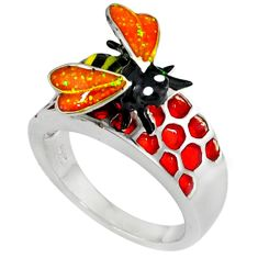 Multi color enamel 925 sterling silver honey bee ring jewelry size 7 a36878