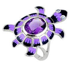 925 sterling silver natural pink amethyst enamel tortoise ring size 8.5 a36994
