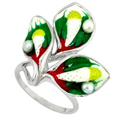 Natural white pearl multi color enamel 925 sterling silver ring size 8 a37036