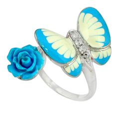 White topaz enamel 925 silver butterfly with flower ring size 6.5 a37037