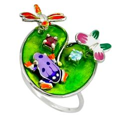 Red garnet topaz enamel 925 silver frog with butterfly ring size 8 a37039