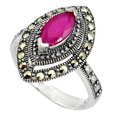 925 sterling silver red faux ruby fine marcasite ring jewelry size 7.5 a37760