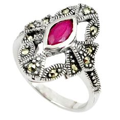 Red faux ruby fine marcasite 925 sterling silver ring jewelry size 6 a37783
