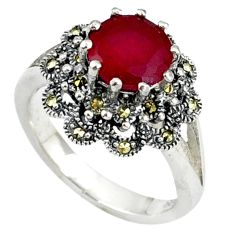 Red faux ruby fine marcasite 925 sterling silver ring jewelry size 6 a37788