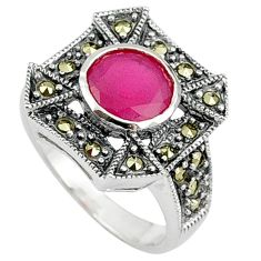 925 sterling silver red faux ruby fine marcasite ring jewelry size 6 a37811