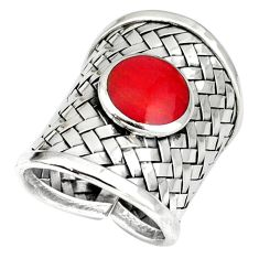 Red coral enamel 925 sterling silver adjustable ring handmade size 8.5 a37863