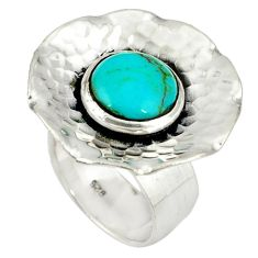Handmade blue turquoise 925 sterling silver adjustable ring size 6 a37884