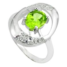 925 sterling silver natural green peridot white topaz ring size 5.5 a38075