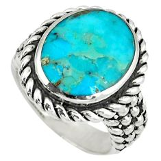 Native american natural blue arizona turquoise 925 silver ring size 8.5 a38576