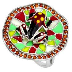 Red garnet quartz enamel 925 sterling silver frog ring jewelry size 7 a39432