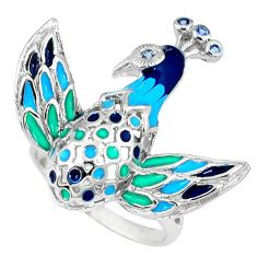 Natural white topaz enamel 925 silver peacock ring jewelry size 8 a39439