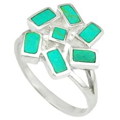 Fine green turquoise enamel 925 sterling silver ring jewelry size 8 a39809