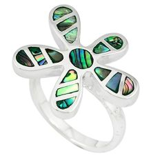 Green abalone paua seashell 925 silver flower ring jewelry size 7 a39879