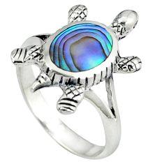 Green abalone paua seashell 925 silver tortoise ring jewelry size 8.5 a39884