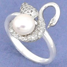 925 sterling silver natural white pearl topaz ring jewelry size 7 a40384