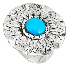 Natural blue magnesite round 925 sterling silver ring jewelry size 8 a40442