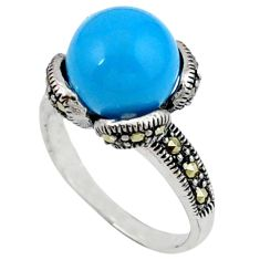 Natural blue magnesite marcasite 925 sterling silver ring size 7.5 a40888
