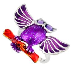 925 silver natural purple amethyst enamel owl ring jewelry size 7 a40945