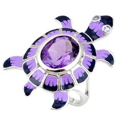 925 silver natural purple amethyst oval enamel tortoise ring size 6.5 a40974