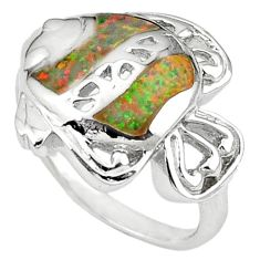 Pink australian opal (lab) enamel 925 silver fish ring jewelry size 7 a41112