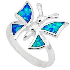 Blue australian opal (lab) 925 sterling silver butterfly ring size 6.5 a41129