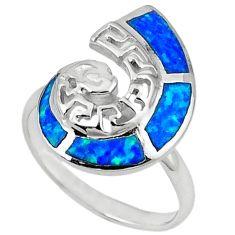 Blue australian opal (lab) enamel 925 sterling silver ring jewelry size 8 a41137