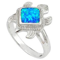 Blue australian opal (lab) 925 silver tortoise ring jewelry size 8.5 a41148