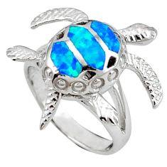 Blue australian opal (lab) 925 silver tortoise ring jewelry size 6.5 a41156