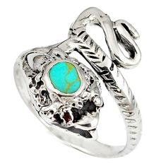 925 silver fine green turquoise anaconda snake ring jewelry size 6.5 a41812