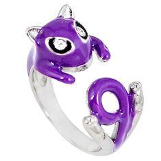 925 sterling silver natural white topaz enamel adjustable ring size 6 a42400