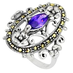 Natural purple amethyst swiss marcasite 925 silver ring size 6.5 a42466