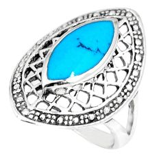 925 sterling silver fine blue turquoise enamel ring jewelry size 6.5 a42959