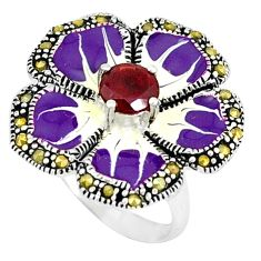 Natural red garnet marcasite 925 silver flower ring jewelry size 7.5 a43322