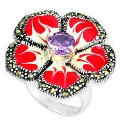 925 silver fine natural purple amethyst marcasite enamel ring size 6.5 a43393